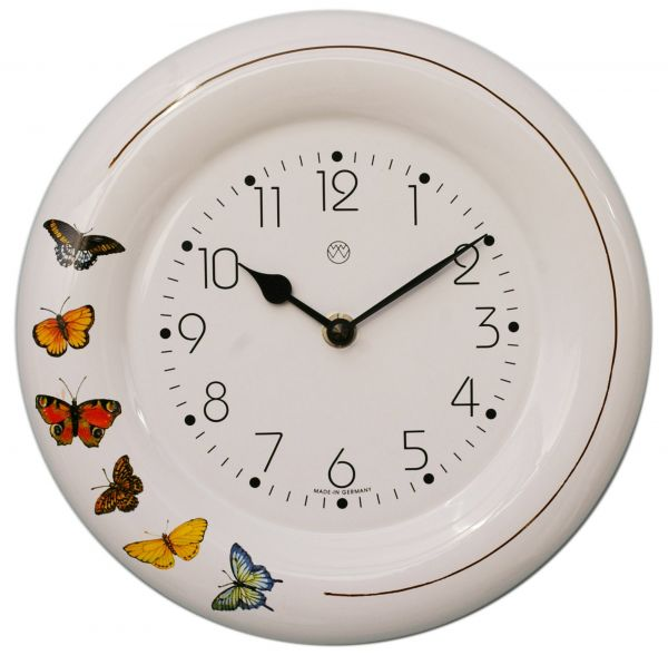 Keramik-Küchenuhr Dekor / Schmetterlinge