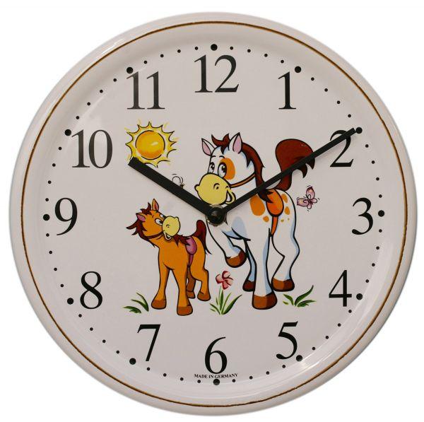 Keramik-Uhr Dekor / Pferd groß und klein