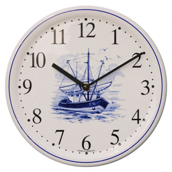 Keramik-Uhr Dekor / Fischkutter